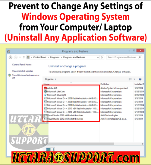 prevent to uninstall any application software from your computer or laptop, uninstall software, uninstall application software, uninstall any software, uninstall any application  software, prevent to uninstall software, prevent to uninstall any software, prevent to uninstall application software, prevent to uninstall any application software, program features, add or remove programs, control panel